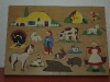 ancien puzzle en bois, ferme et animaux