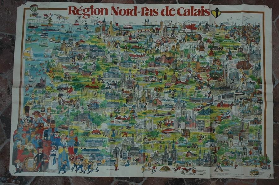 Ancienne carte de la r gion nord pas de calais 1985 mon vieux grenier - Brocante nord pas de calais ...