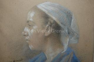 Jean Brunet Portrait jeune femme Nantaise