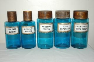 lot d 39 anciens flacons d 39 apothicaire en verre bleu circa 1890. Black Bedroom Furniture Sets. Home Design Ideas