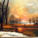 Huile sur toile pêcheur, neige, lac