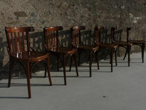 s rie de 6 chaises bistrot style thonet fischel baumann mon vieux grenier. Black Bedroom Furniture Sets. Home Design Ideas